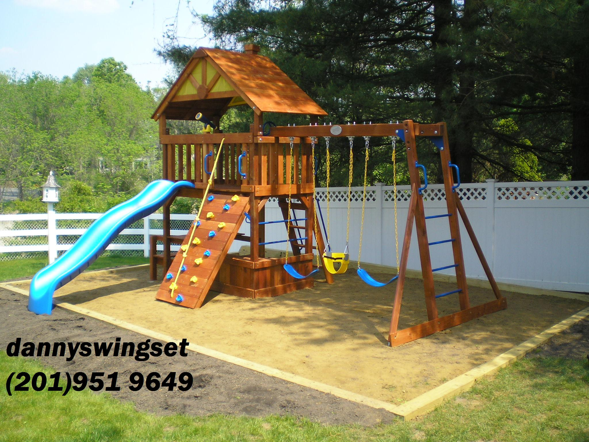 Swing Set Installer Nj Cedar Summit Lookout Lodge 3 Slide Cedar